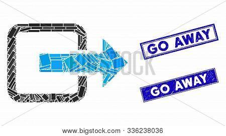 Mosaic Exit Door Pictogram And Rectangle Go Away Seal Stamps. Flat Vector Exit Door Mosaic Pictogram