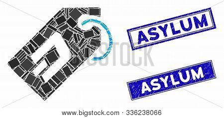 Mosaic Dash Token Pictogram And Rectangular Asylum Seal Stamps. Flat Vector Dash Token Mosaic Pictog