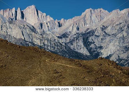 Rugged Peaks Of The Sierra Nevada Mountains Including Mt Whitney Taken From Lone Pine, Ca