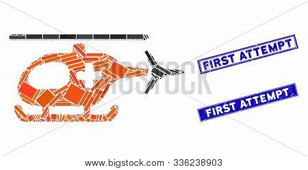 Mosaic Emergency Helicopter Pictogram And Rectangular First Attempt Watermarks. Flat Vector Emergenc