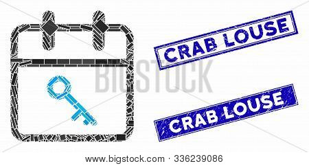 Mosaic Security Day Icon And Rectangle Crab Louse Rubber Prints. Flat Vector Security Day Mosaic Ico