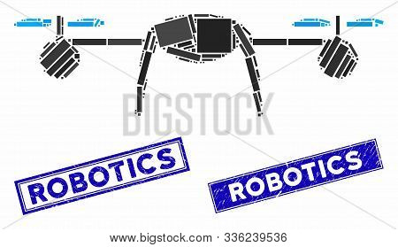 Mosaic airdrone pictogram and rectangular Robotics seal stamps. Flat vector airdrone mosaic pictogram of randomized rotated rectangular items. Blue Robotics seal stamps with grunged surface. poster