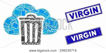 Mosaic Dust Bin Icon And Rectangular Virgin Seal Stamps. Flat Vector Dust Bin Mosaic Icon Of Randomi