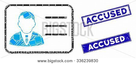 Mosaic Account Card Pictogram And Rectangle Accused Seal Stamps. Flat Vector Account Card Mosaic Pic