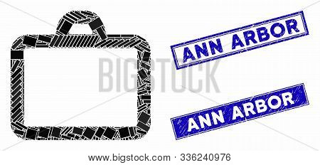 Mosaic Case Pictogram And Rectangular Ann Arbor Rubber Prints. Flat Vector Case Mosaic Pictogram Of