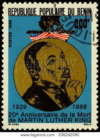 Moscow, Russia - November 27, 2019: Stamp Printed In Benin, Shows Portrait Of Martin Luther King Jr