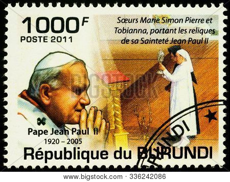 Moscow, Russia - November 26, 2019: Stamp Printed In Burundi, Shows Portrait Of Pope John Paul Ii, D