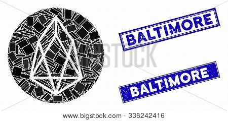 Mosaic Eos Currency Icon And Rectangle Baltimore Seals. Flat Vector Eos Currency Mosaic Icon Of Rand