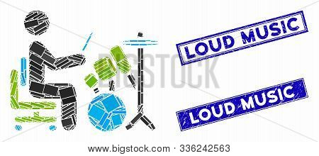 Mosaic Drummer Icon And Rectangle Loud Music Seal Stamps. Flat Vector Drummer Mosaic Icon Of Random