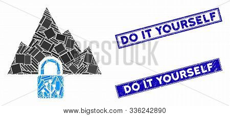 Mosaic Vpn Tunnel Pictogram And Rectangular Do It Yourself Stamps. Flat Vector Vpn Tunnel Mosaic Ico