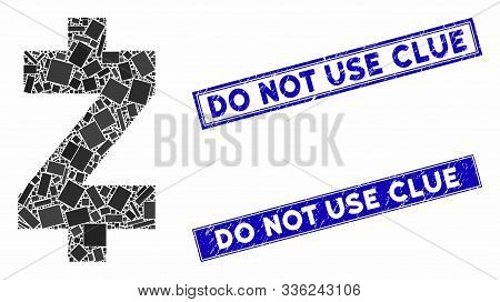 Mosaic Zcash Pictogram And Rectangle Do Not Use Clue Stamps. Flat Vector Zcash Mosaic Pictogram Of R