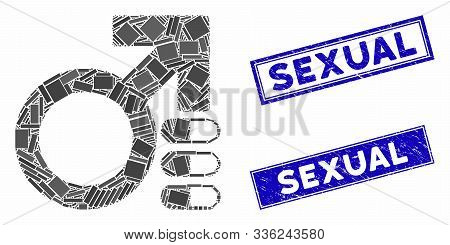 Mosaic Male Erection Pills Pictogram And Rectangular Sexual Seal Stamps. Flat Vector Male Erection P