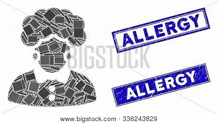 Mosaic Brunette Woman Pictogram And Rectangular Allergy Seals. Flat Vector Brunette Woman Mosaic Pic