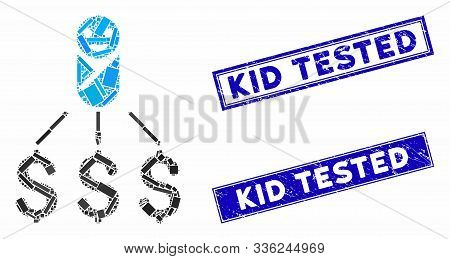 Mosaic Newborn Expenses Icon And Rectangle Kid Tested Stamps. Flat Vector Newborn Expenses Mosaic Ic