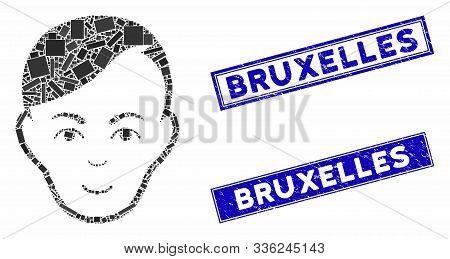 Mosaic Human Head Icon And Rectangular Bruxelles Seal Stamps. Flat Vector Human Head Mosaic Pictogra