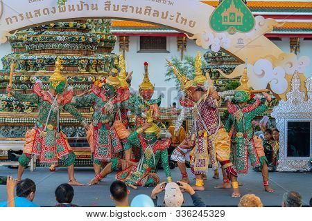 Bangkok, Thailand - November 03, 2018: Khon Performance, Thai Traditional Ramayana Drama Art To Cele