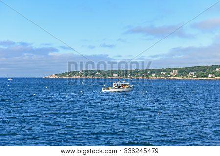 Lobster Fishing Boat At Port Of Gloucester City, Gloucester, Massachusetts, Usa.