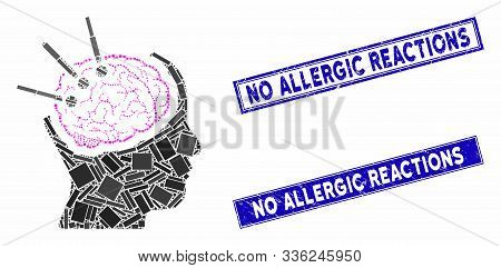 Mosaic Brain Autopsy Icon And Rectangular No Allergic Reactions Seal Stamps. Flat Vector Brain Autop