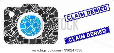 Mosaic Photo Camera Icon And Rectangle Claim Denied Stamps. Flat Vector Photo Camera Mosaic Icon Of