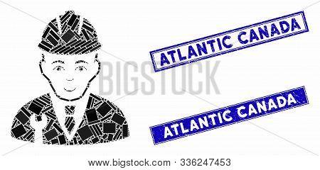 Mosaic Developer Pictogram And Rectangle Atlantic Canada Seal Stamps. Flat Vector Developer Mosaic P
