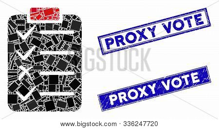 Mosaic Task List Icon And Rectangle Proxy Vote Stamps. Flat Vector Task List Mosaic Icon Of Randomiz