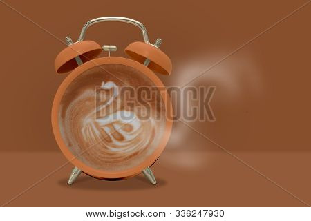 Synectics-hot Coffee With Swan Shape Frothy Foam In Green Alarmclock On Red Background Creative Mode