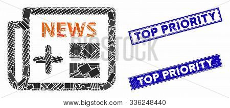Mosaic Medical Newspaper Pictogram And Rectangle Top Priority Seals. Flat Vector Medical Newspaper M
