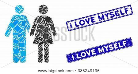 Mosaic Married Couple Icon And Rectangle I Love Myself Seals. Flat Vector Married Couple Mosaic Icon