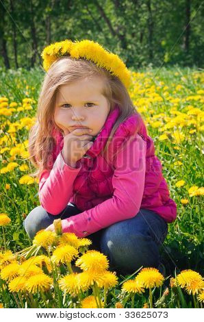 Little girl is thinking