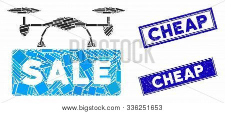 Mosaic Airdrone Sale Pictogram And Rectangle Cheap Seal Stamps. Flat Vector Airdrone Sale Mosaic Pic