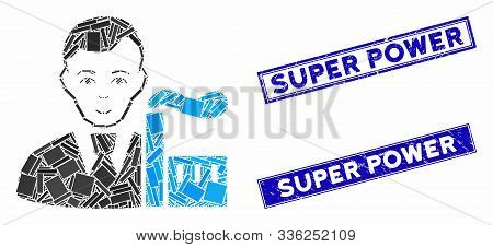 Mosaic Capitalist Oligarch Icon And Rectangular Super Power Seals. Flat Vector Capitalist Oligarch M