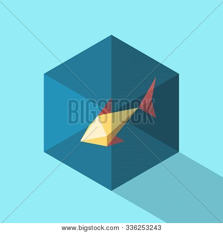 One Isometric Gold Fish In Small Fishbowl With Water On Blue Background. Pet, Home, Animal And Claus