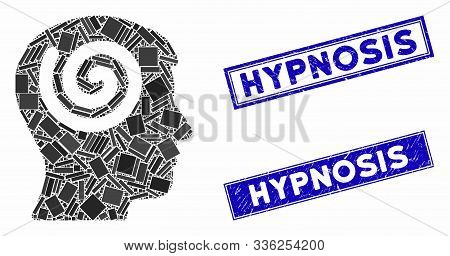 Mosaic Hypnosis Pictogram And Rectangle Hypnosis Seal Stamps. Flat Vector Hypnosis Mosaic Pictogram