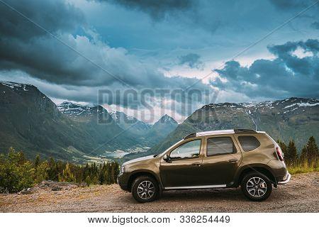 Byrkjelo, Sogn Og Fjordane County, Norway - June 22, 2019: Car Renault Duster Suv Parked Near Scenic