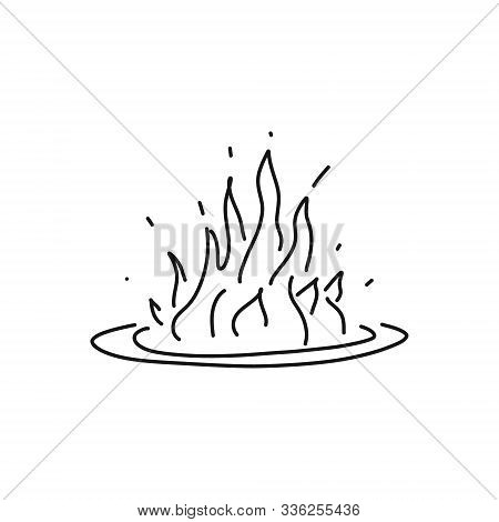 Informative Flyer Fire Sketch Hand Drawn Flame. Large Flame With Fiercely Rounded Border, Flames Dis
