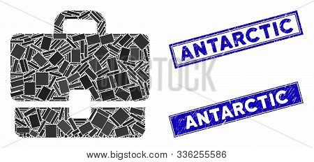 Mosaic Case Icon And Rectangle Antarctic Watermarks. Flat Vector Case Mosaic Icon Of Randomized Rota