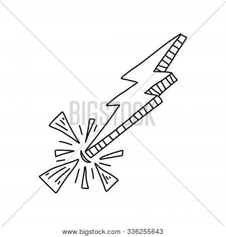 Cognitive Poster Lightning, Strike Spark Art. Powerful Natural Phenomenon, Thunderstorm Beats Bright