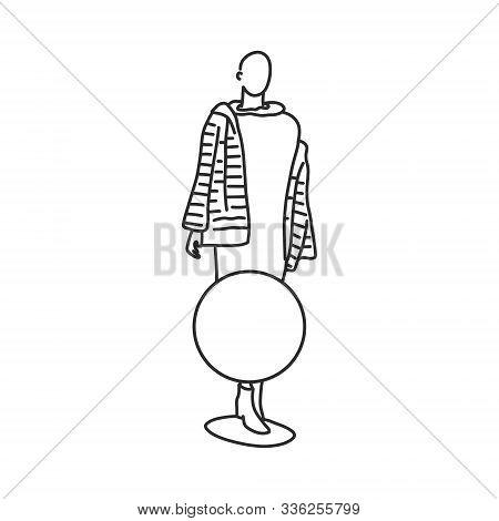 Mannequin Woman In Beautiful Fur Coat, Cartoon. Illustration Round Sticker Is Glued On Window In Fro