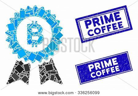 Mosaic Bitcoin Seal With Ribbons Icon And Rectangular Prime Coffee Rubber Prints. Flat Vector Bitcoi