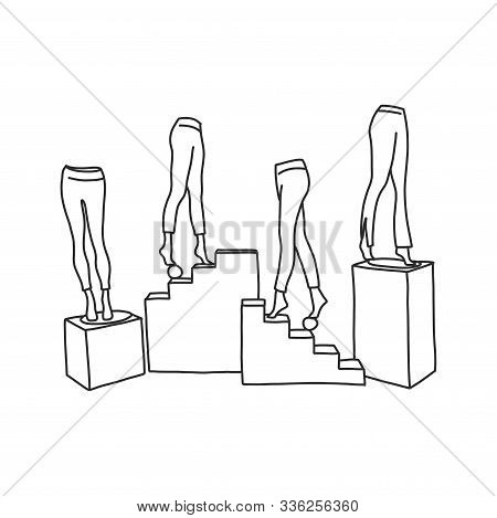 Flat Banner Female Mannequin Legs In Pantyhose. Vector Illustration White Background. Lower Part Man