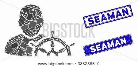 Mosaic Navigation Captain Pictogram And Rectangle Seaman Seals. Flat Vector Navigation Captain Mosai