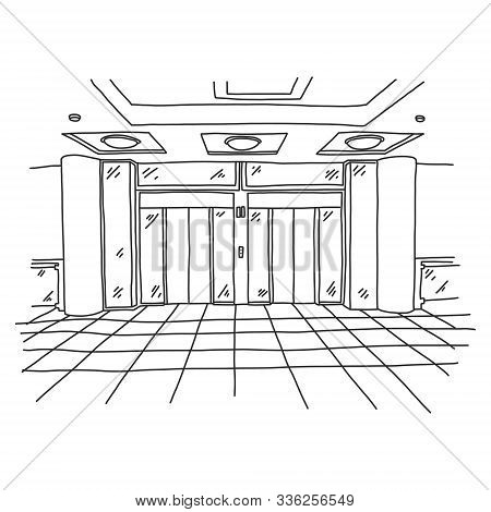 Spacious Modern Elevator In Shopping Center. Large Lifting Gear In Lobby Building. On Floor There Is