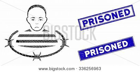 Mosaic Isolated Prisoner Pictogram And Rectangle Prisoned Watermarks. Flat Vector Isolated Prisoner
