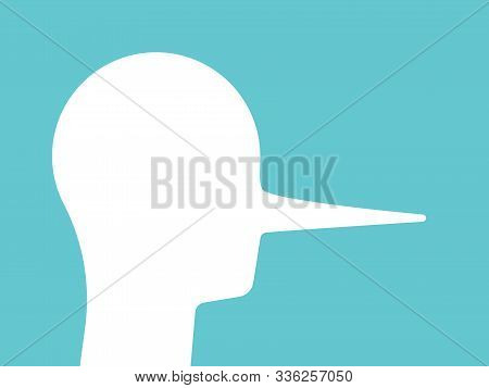 Liar Head With Long Nose. Abstract Silhouette On Turquoise Blue. Deceit, Crook, Cheater, Lie, False