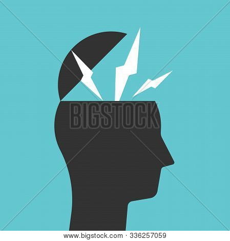Open Head With Lightnings Or Sparks. Black Silhouette. Creativity, Imagination, Idea, Inspiration, S