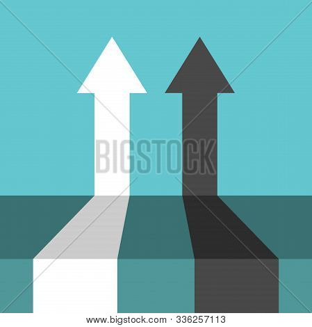 Two Competitive Arrows, Black And White, On Turquouise Blue Background. Perspective View. Competitio