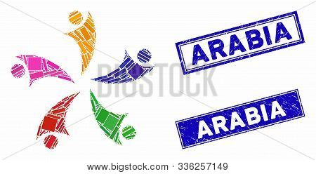 Mosaic Collaboration Logo Icon And Rectangle Arabia Seal Stamps. Flat Vector Collaboration Logo Mosa