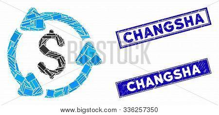 Mosaic Money Circulation Pictogram And Rectangular Changsha Rubber Prints. Flat Vector Money Circula