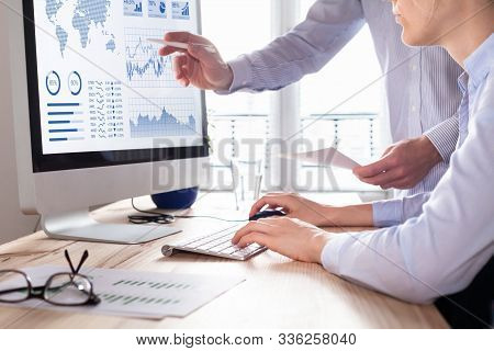 Business Concept. Desktop Computer Making Business Plan, Business Investment Advisor Consulting. Han