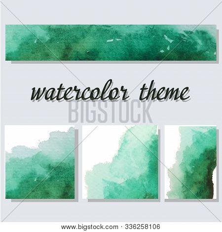 Green Aquarelle Watercolor Splash. Soft Gradient Ink On White Background. Vector Banner Set Of Four